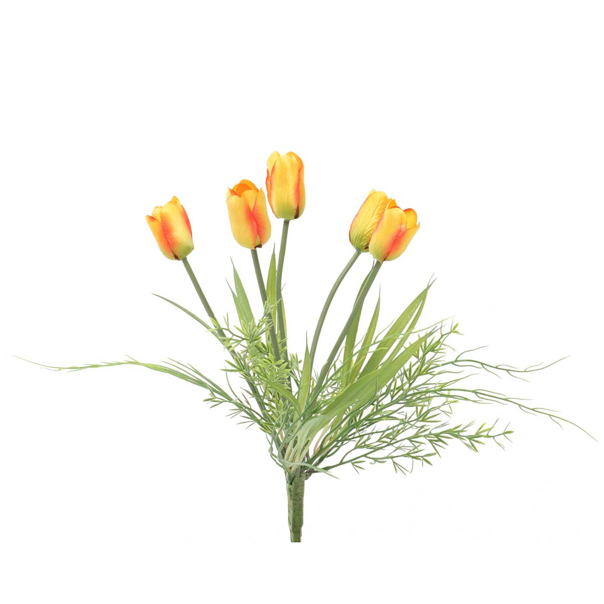 "Tulip Bush X5 with Grass 10""x12.5"" Orange v22"