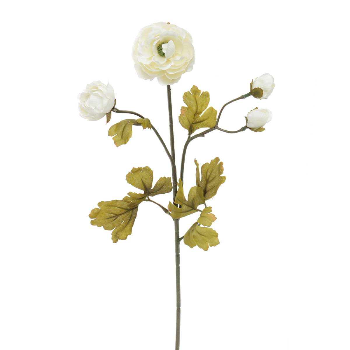 "Sea Glass Ranunculus X4 2""x22"" White"