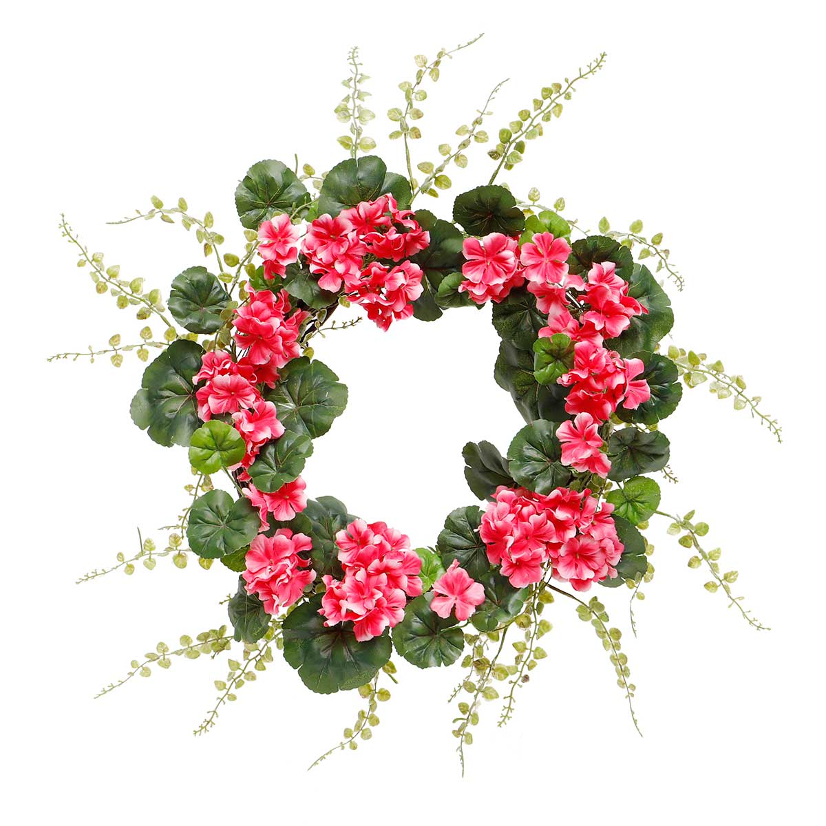 RASPBERRY GERANIUM WREATH WITH TWIG BASE 22""