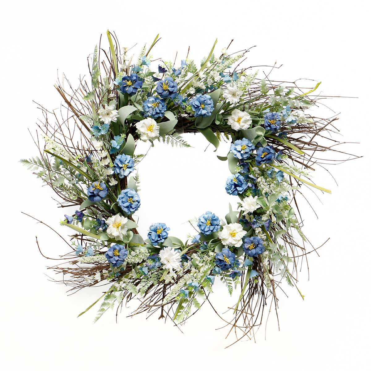 BLUE BAYOU WILDFLOWER AND FOLIAGE SQUARE WREATH