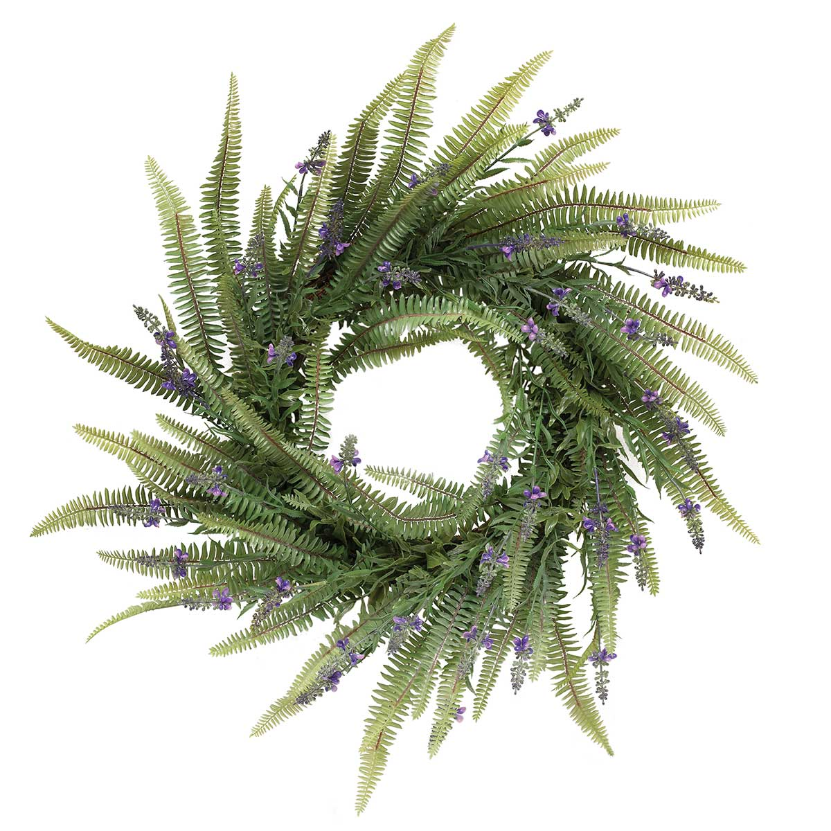 LAVENDER FERN WREATH WITH TWIG BASE
