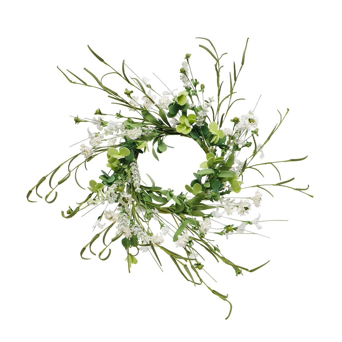 BLANC WHITE BLOSSOM WREATH 17""