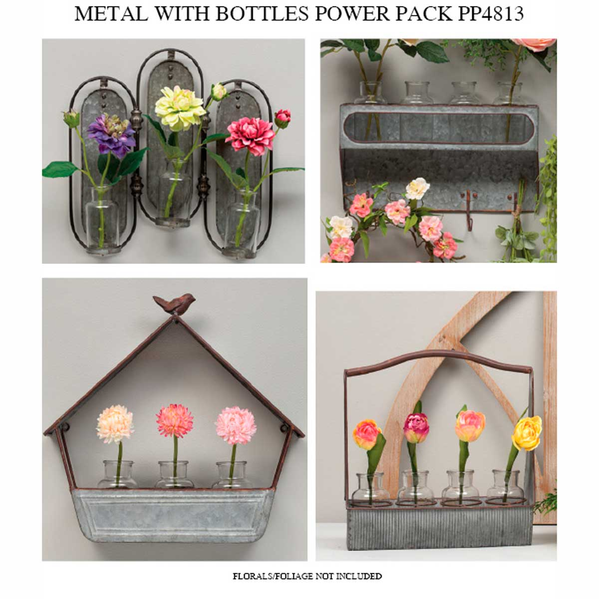 METAL WITH GLASS BOTTLES POWER PACK 4 UNITS