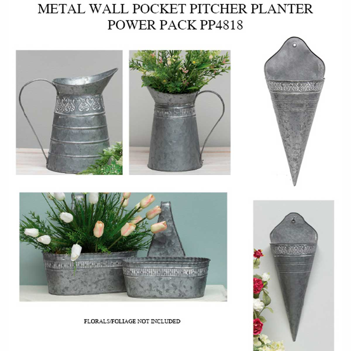 METAL WALL POCKET/PITCHER/PLANTER POWER PACK 6 UNITS