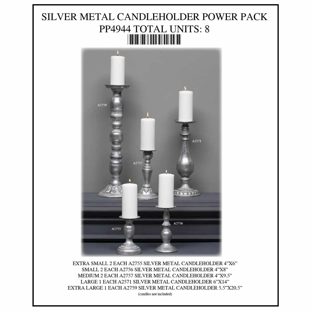 ANTIQUE METAL CANDLE HOLDER POWER PACK 8 UNITS PP4944