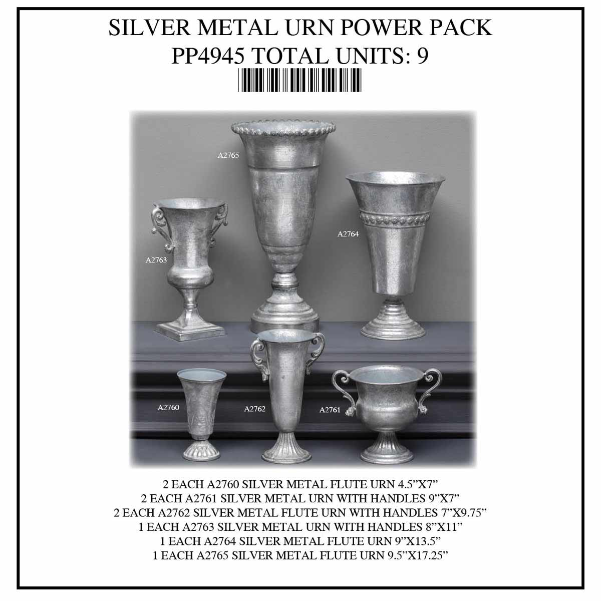 ANTIQUE METAL URN POWER PACK 9 UNITS PP4945