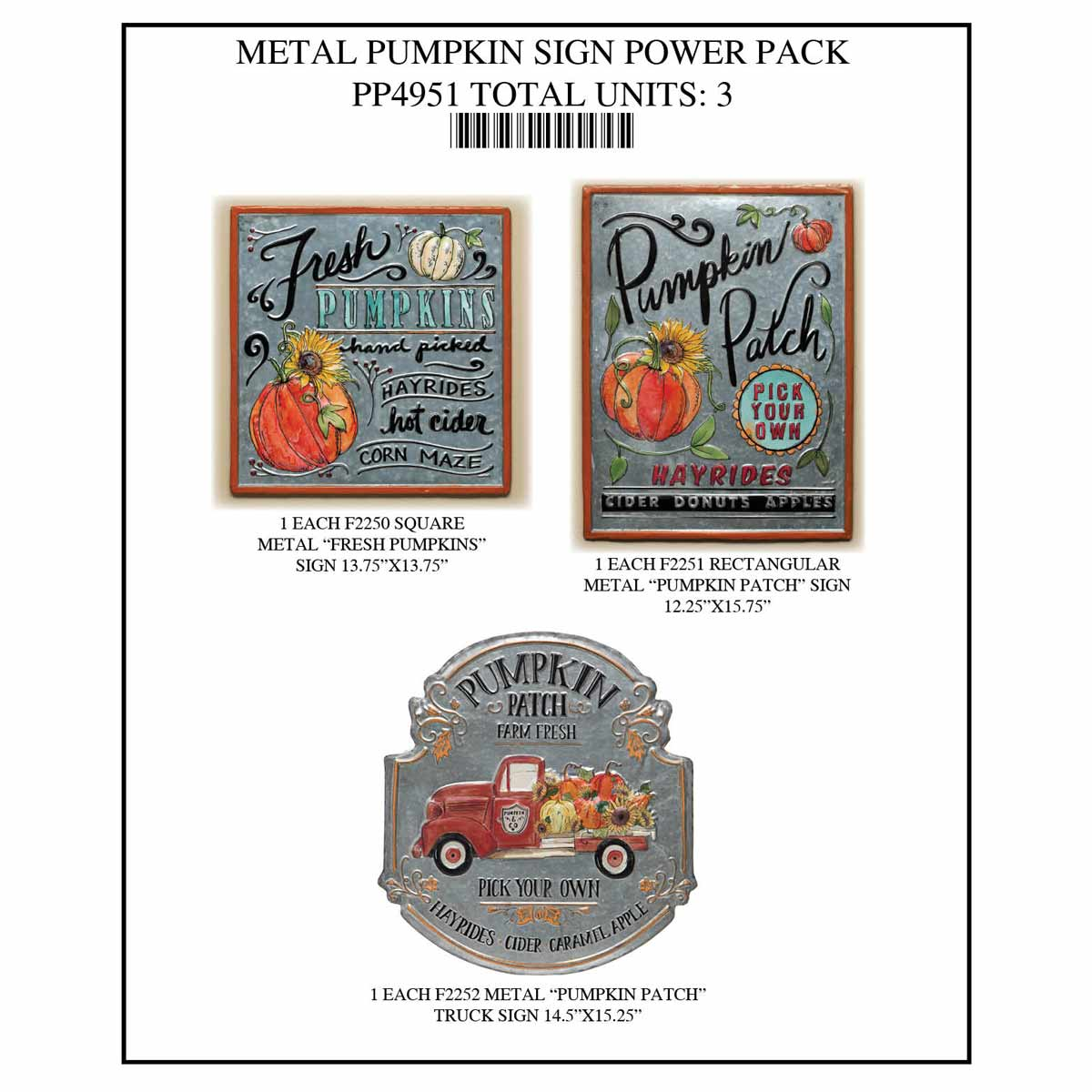 PUMPKIN SIGN POWER PACK 3 UNITS PP4951