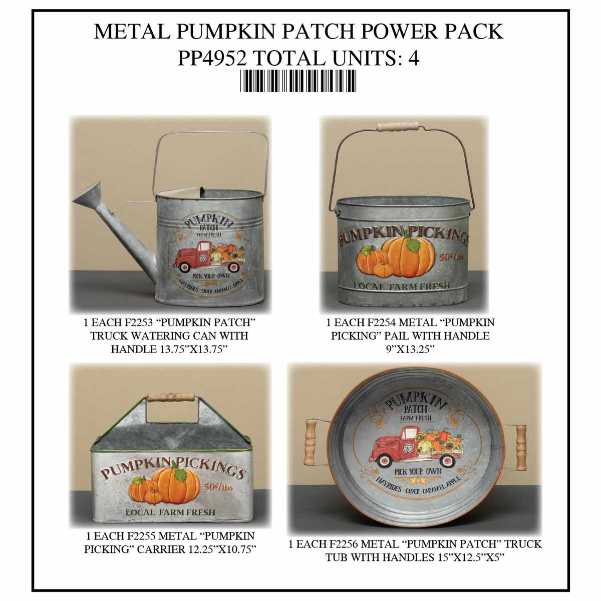 METAL PUMPKIN PATCH POWER PACK 4 UNITS PP4952