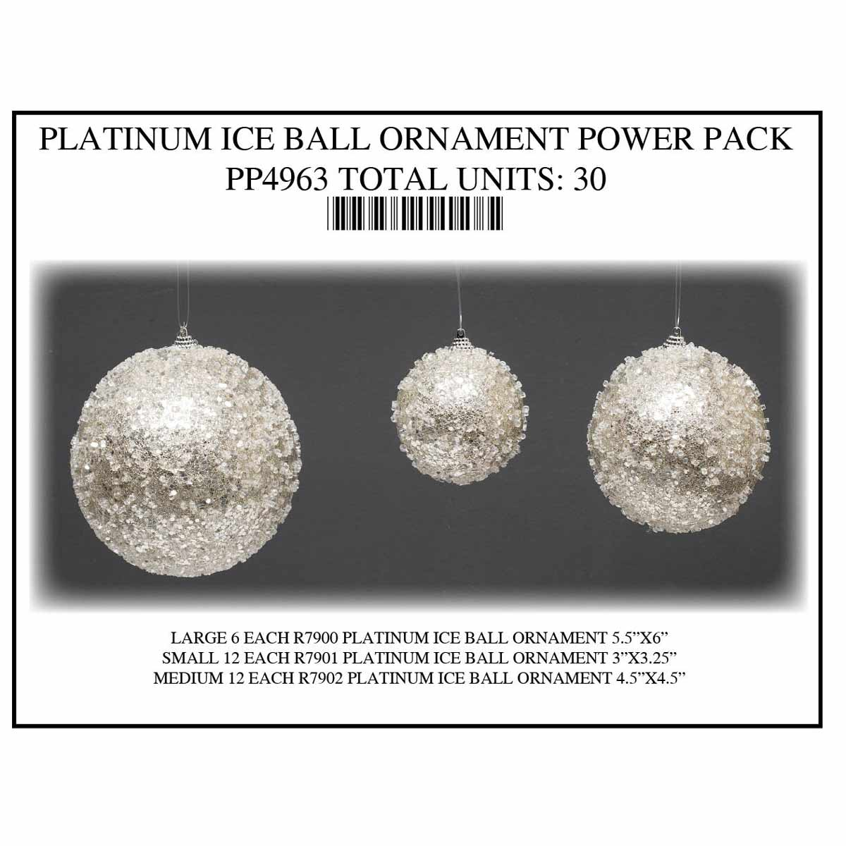 PLATINUM ICED BALL ORNAMENT POWER PACK 30 UNITS PP4963