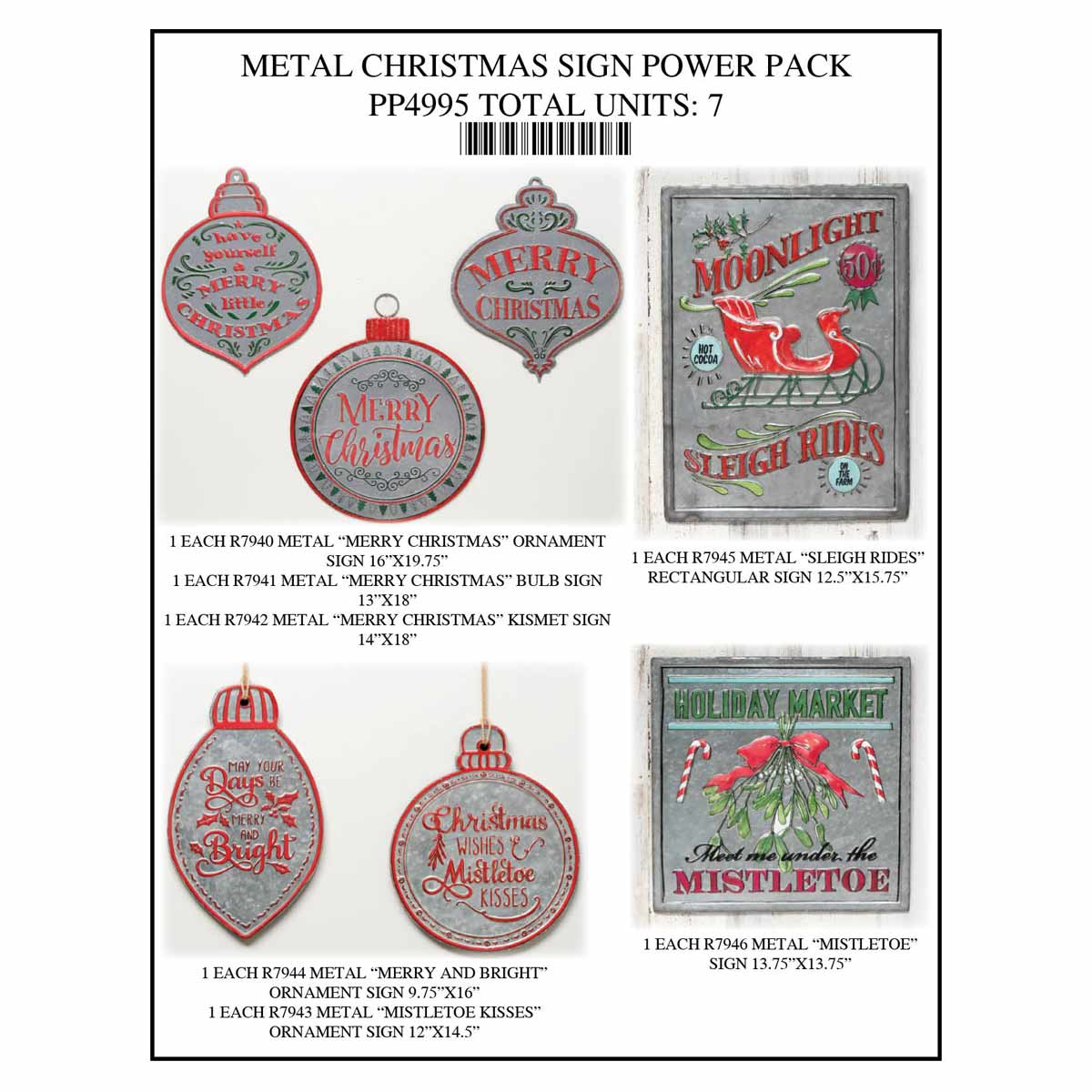 SIGN MERRY CHRISTMAS POWER PACK 7 UNITS