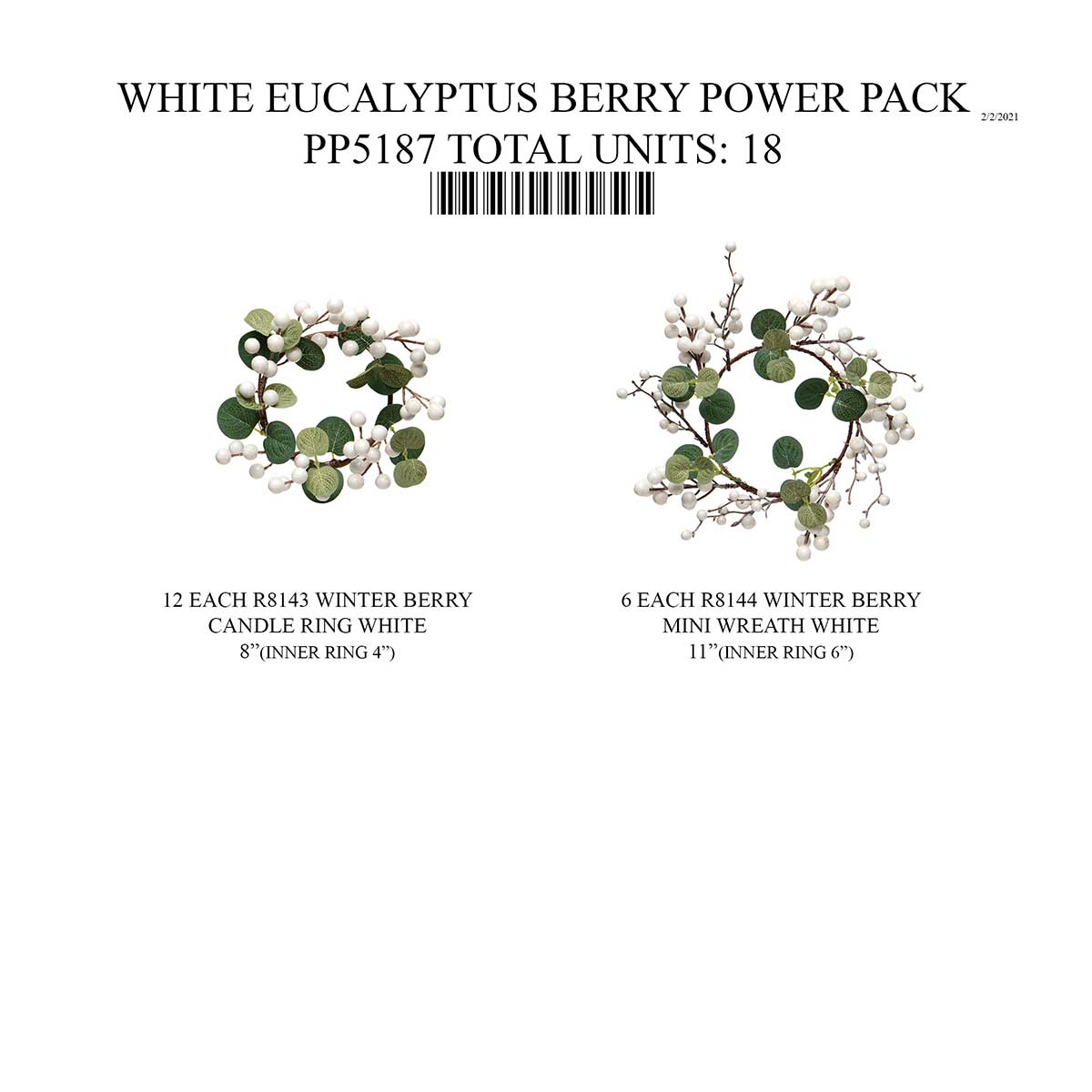 EUCALYPTUS WHITE BERRY MINI WREATH/CANDLE RING 18 UNITS PP5187