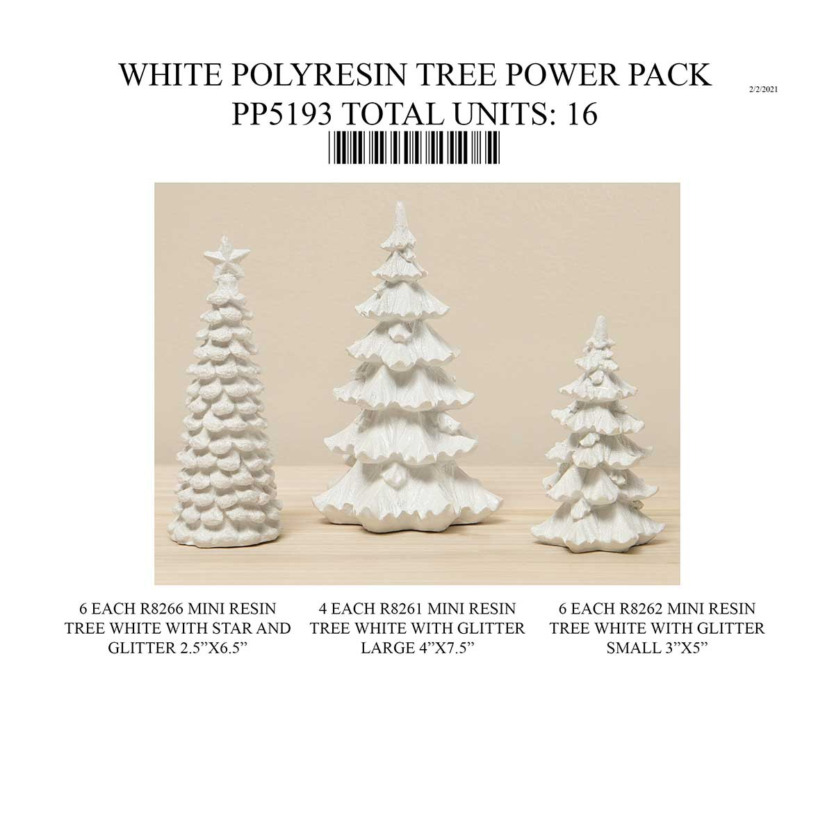 POLYRESIN WHITE TREE POWER PACK 16 UNITS PP5193