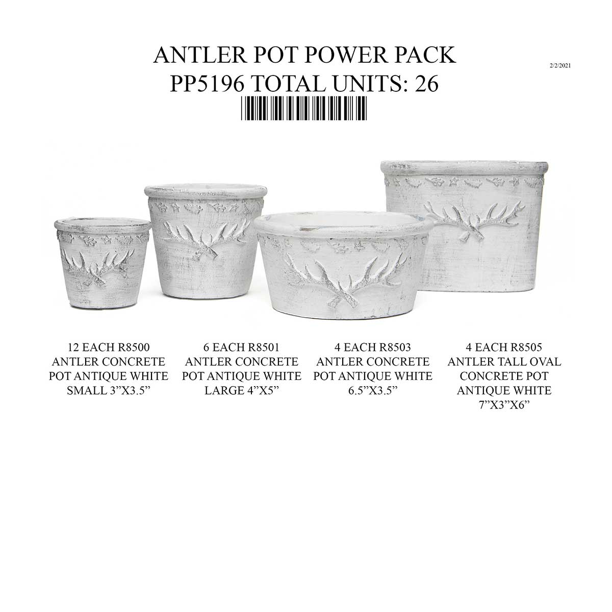 ANTLER PORT WITH LEAF EMBOSSED EDGE DESIGN CONCRETE POT 26 UNITS