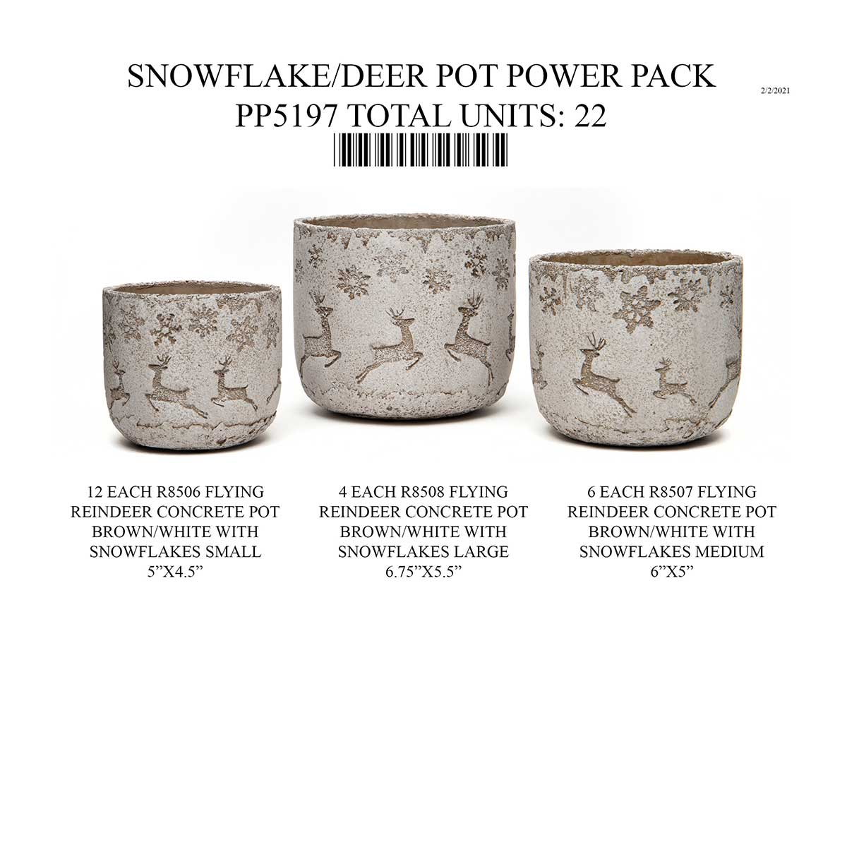 SNOWFLAKE/DEER POT BEIGE/CREAM POWER PACK 22 UNITS PP5197