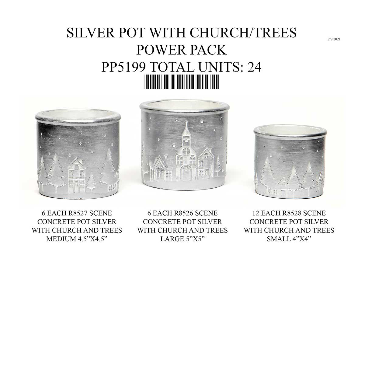 SILVER CONCRETE POT WITH TREE/CHURCH SCENE 24 UNITS PP5199