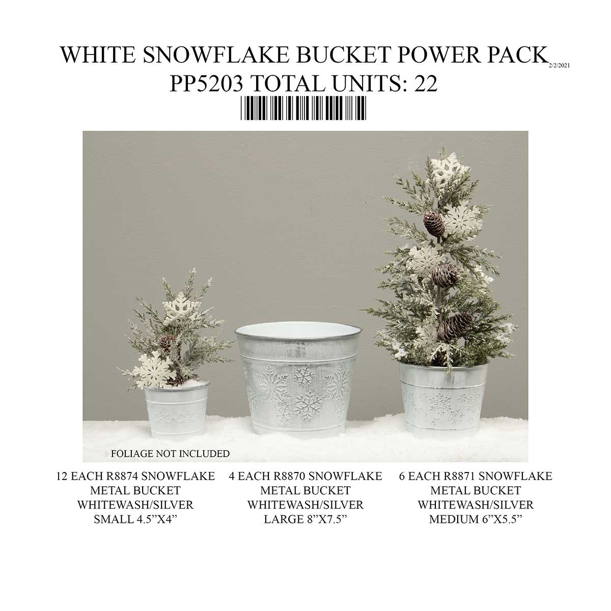 SILVER/WHITE WASHED SNOWFLAKE BUCKET 22 UNITS PP5203