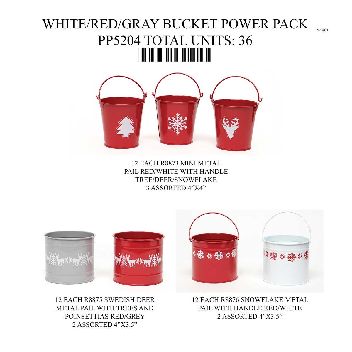 SWEDISH BUCKET WHITE/RED/GREY POWER PACK 36 UNITS PP5204