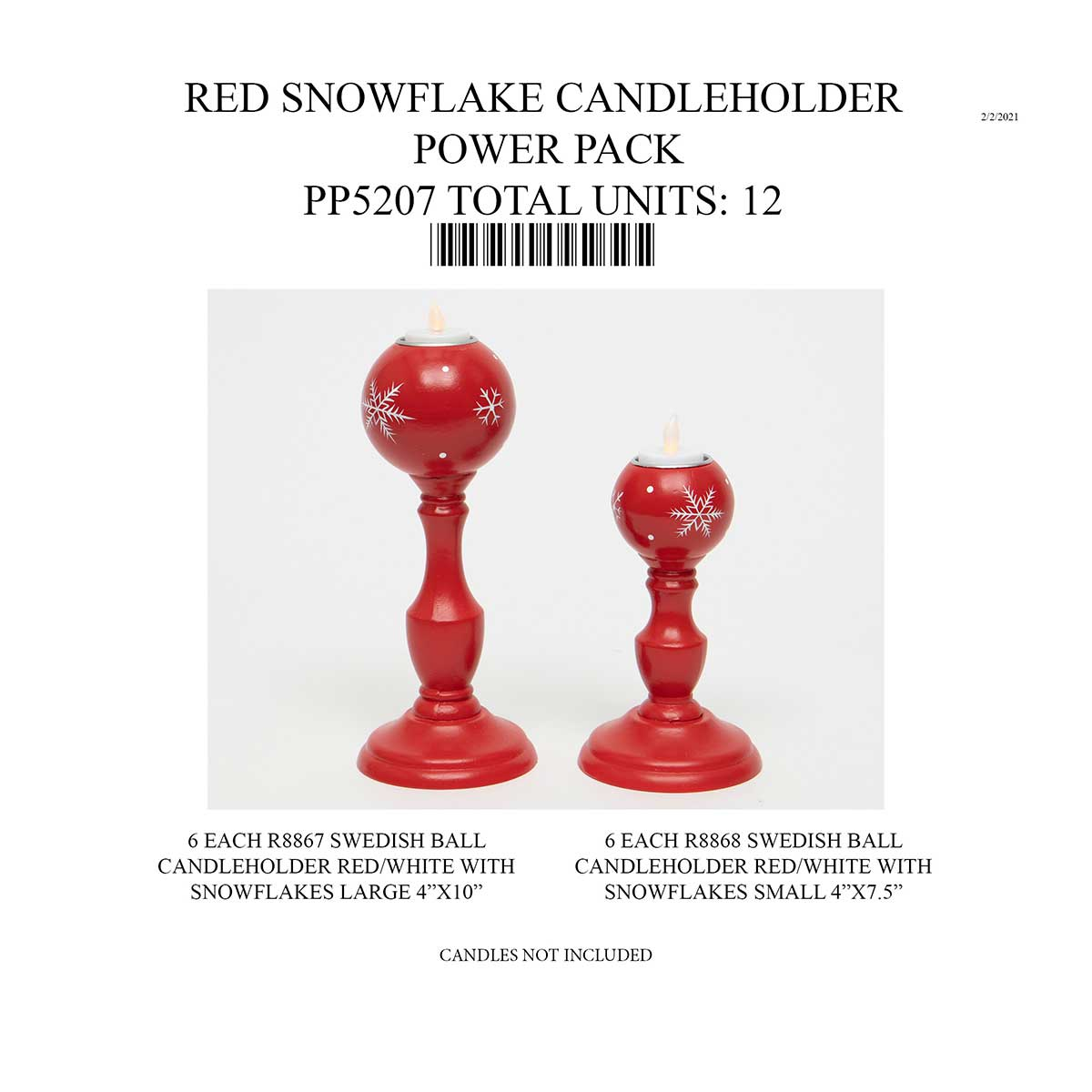 RED SWEDISH SNOWFLAKE CANDLEHOLDER POWER PACK 12 UNITS PP5207