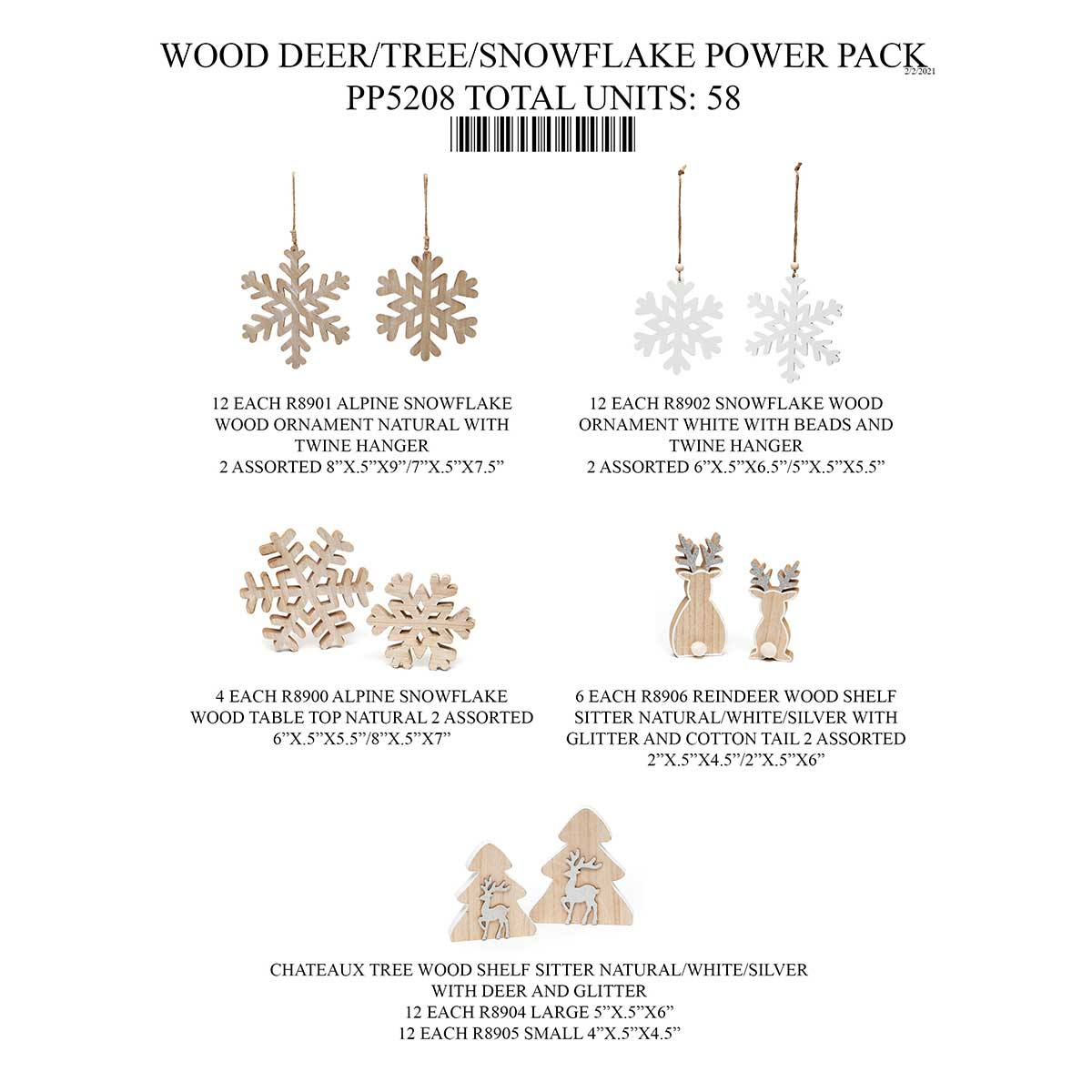 WOOD SNOWFLAKE/TREE/DEER POWER PACK 58 UNITS PP5208