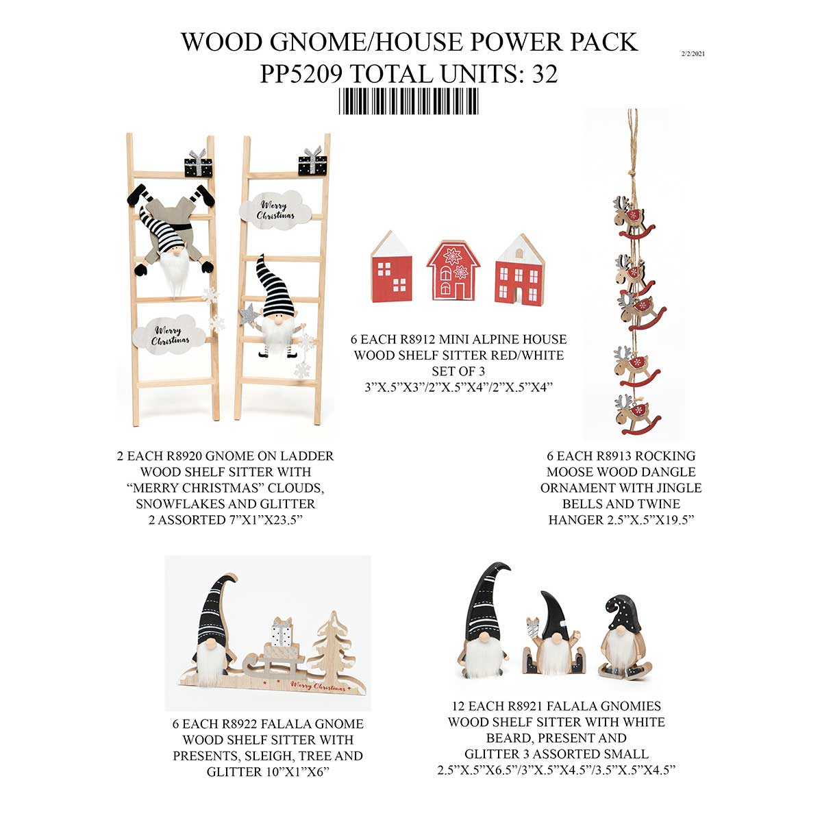 WOOD HOUSE/GNOME/ORNAMENT POWER PACK 32 UNITS PP5209