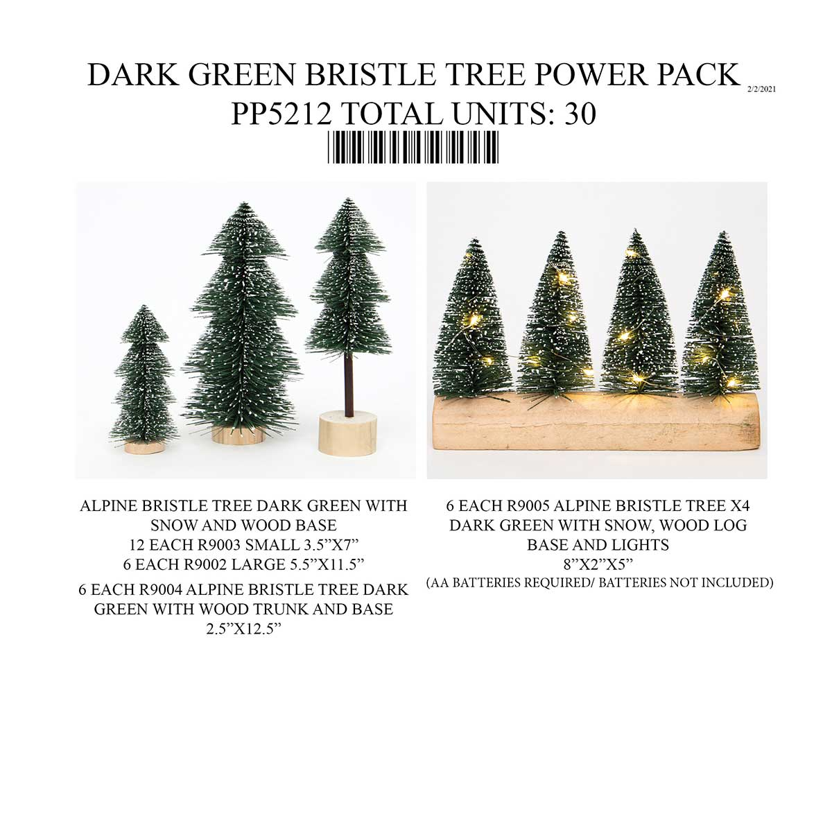 DARK GREEN BRISTLE TREE POWER PACK 30 UNITS PP5212