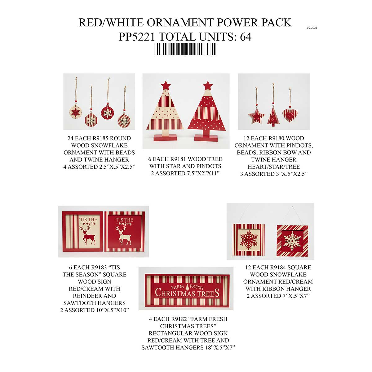 RED/CREAM TICKING ORNAMENT POWER PACK 64 UNITS PP5221