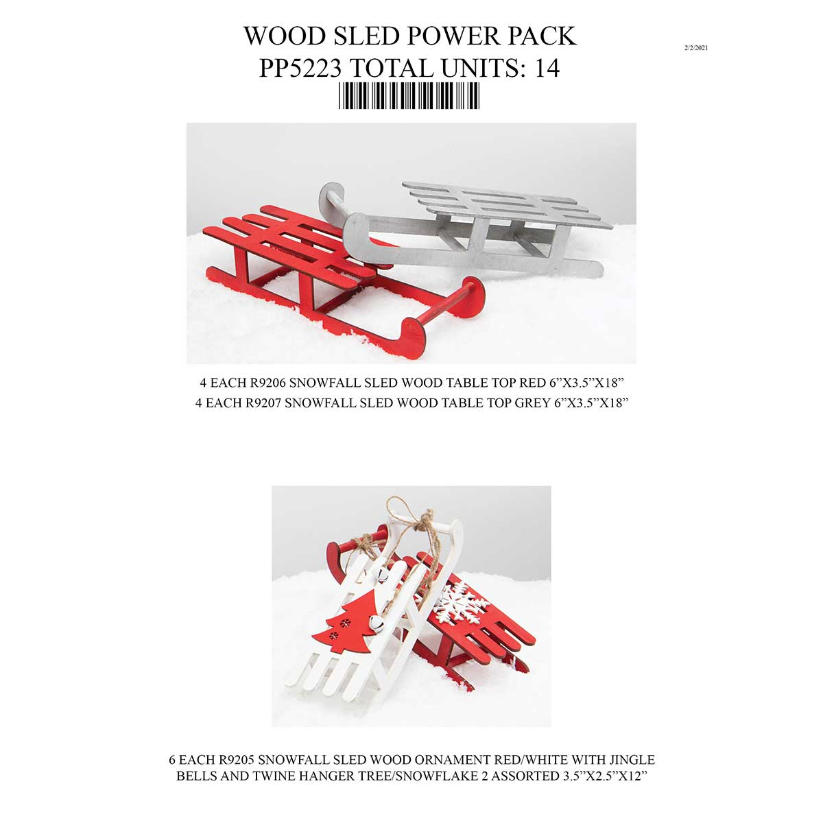 WOOD SLED POWER PACK 14 UNITS PP5223