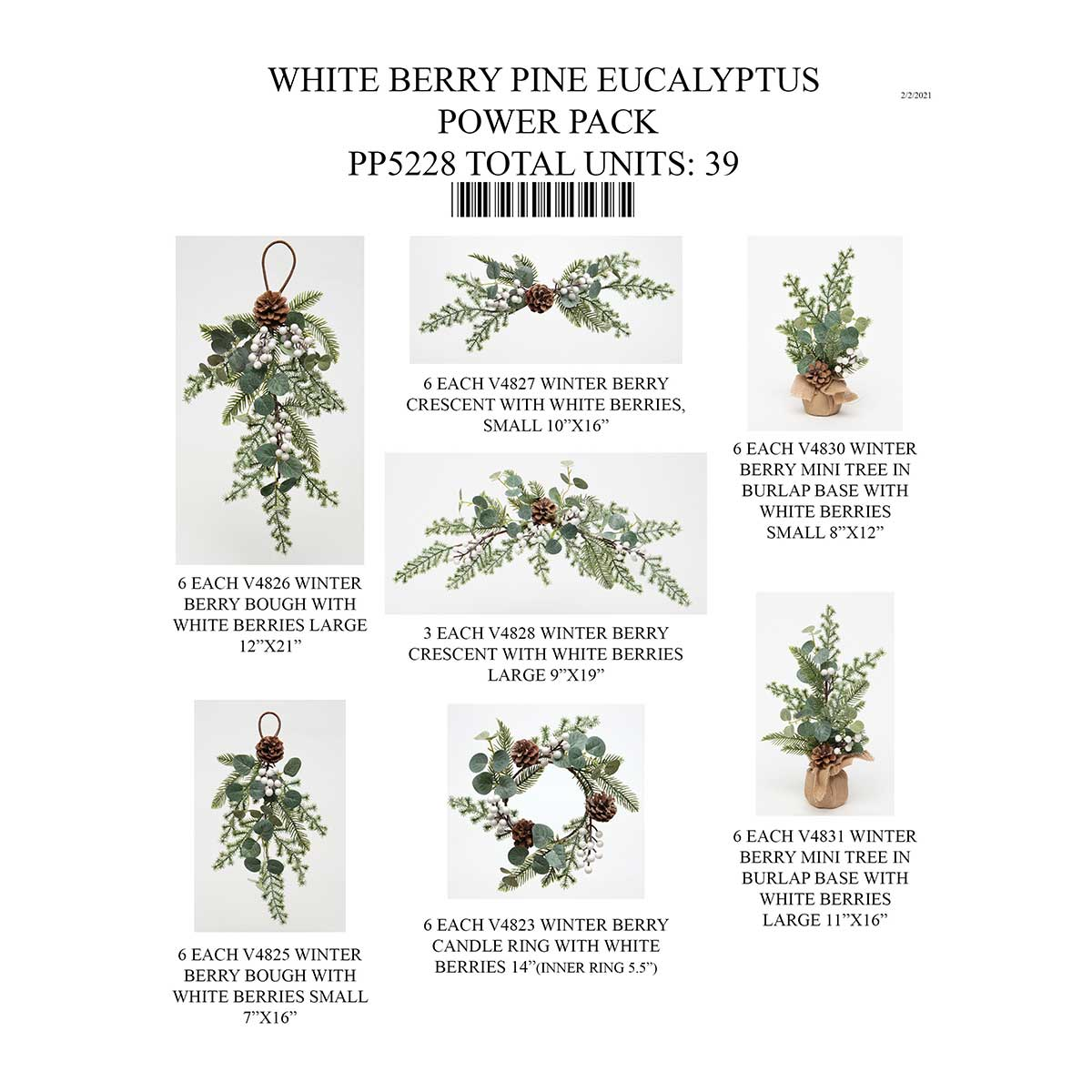 PINE EUCALYPTUS WHITE BERRY POWER PACK 39 UNITS PP5228