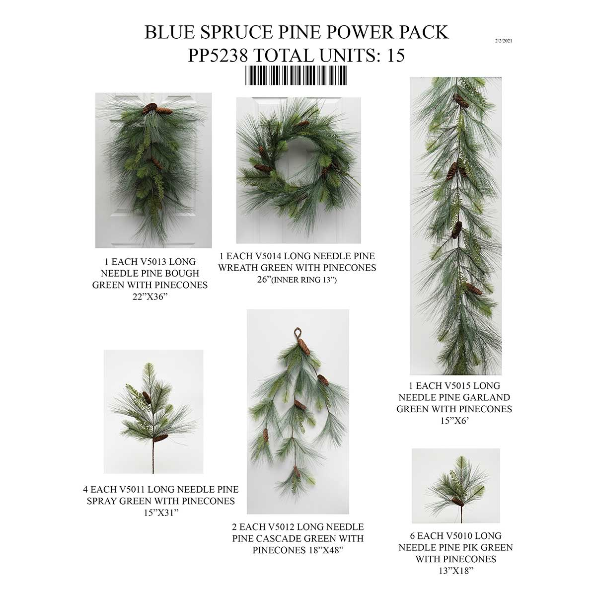 LONG NEEDLE MIXED PINE POWER PACK 15 UNITS PP5238