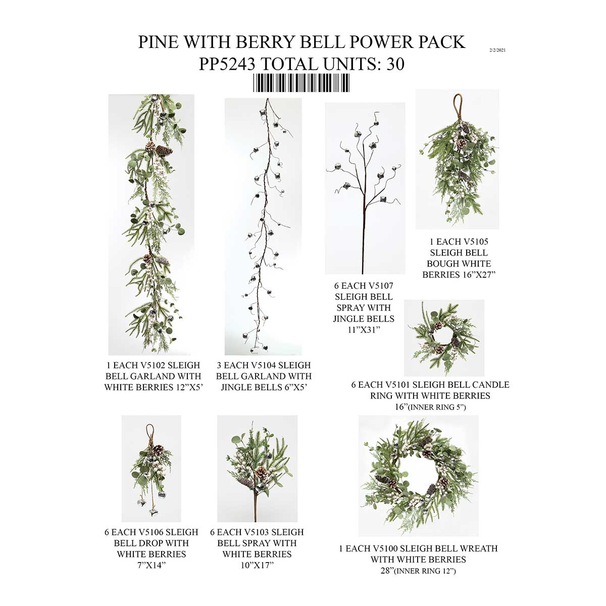 PINE WITH BERRY AND BELLS POWER PACK 30 UNITS PP5243