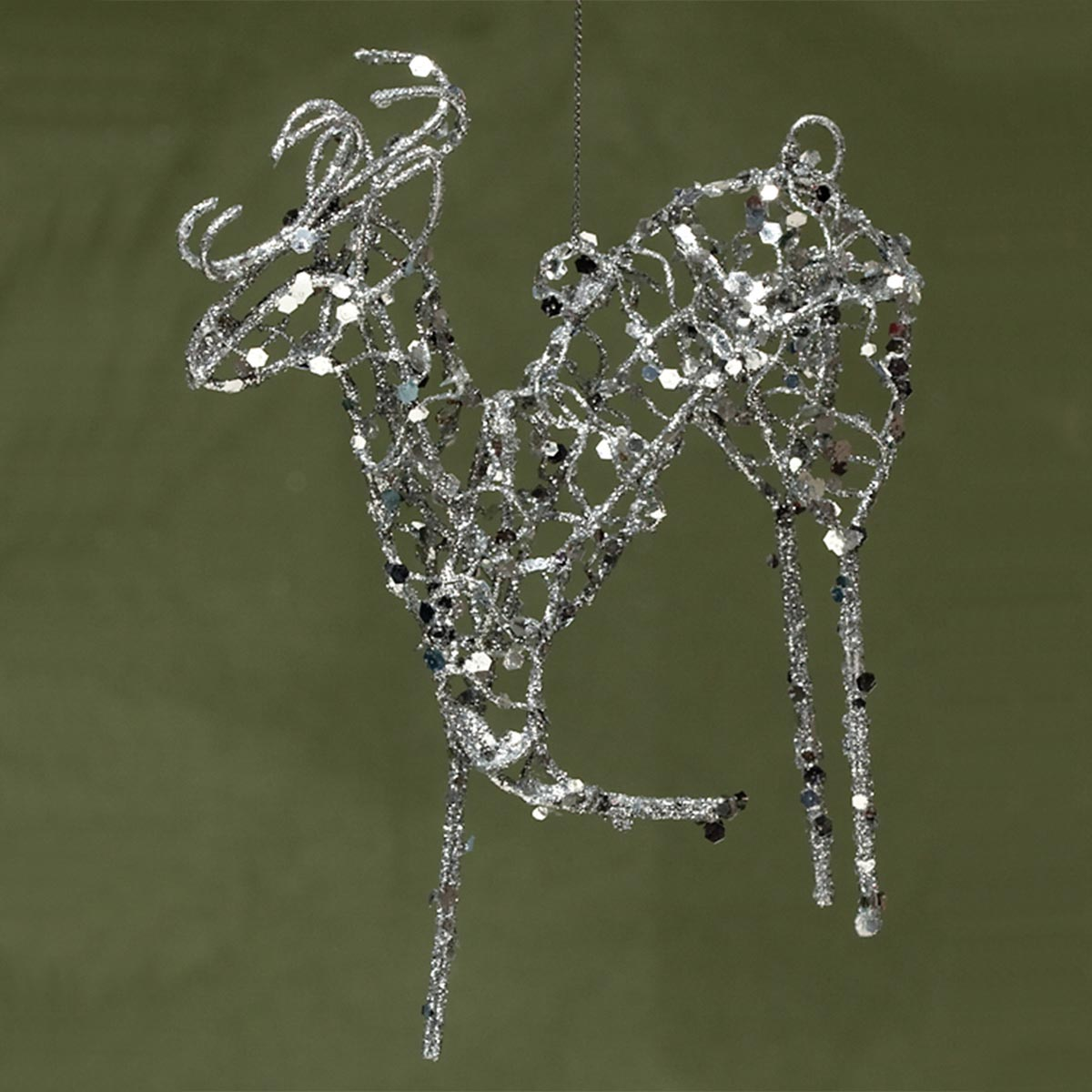 WIRE GLITTER DEER ORNAMENT SILVER