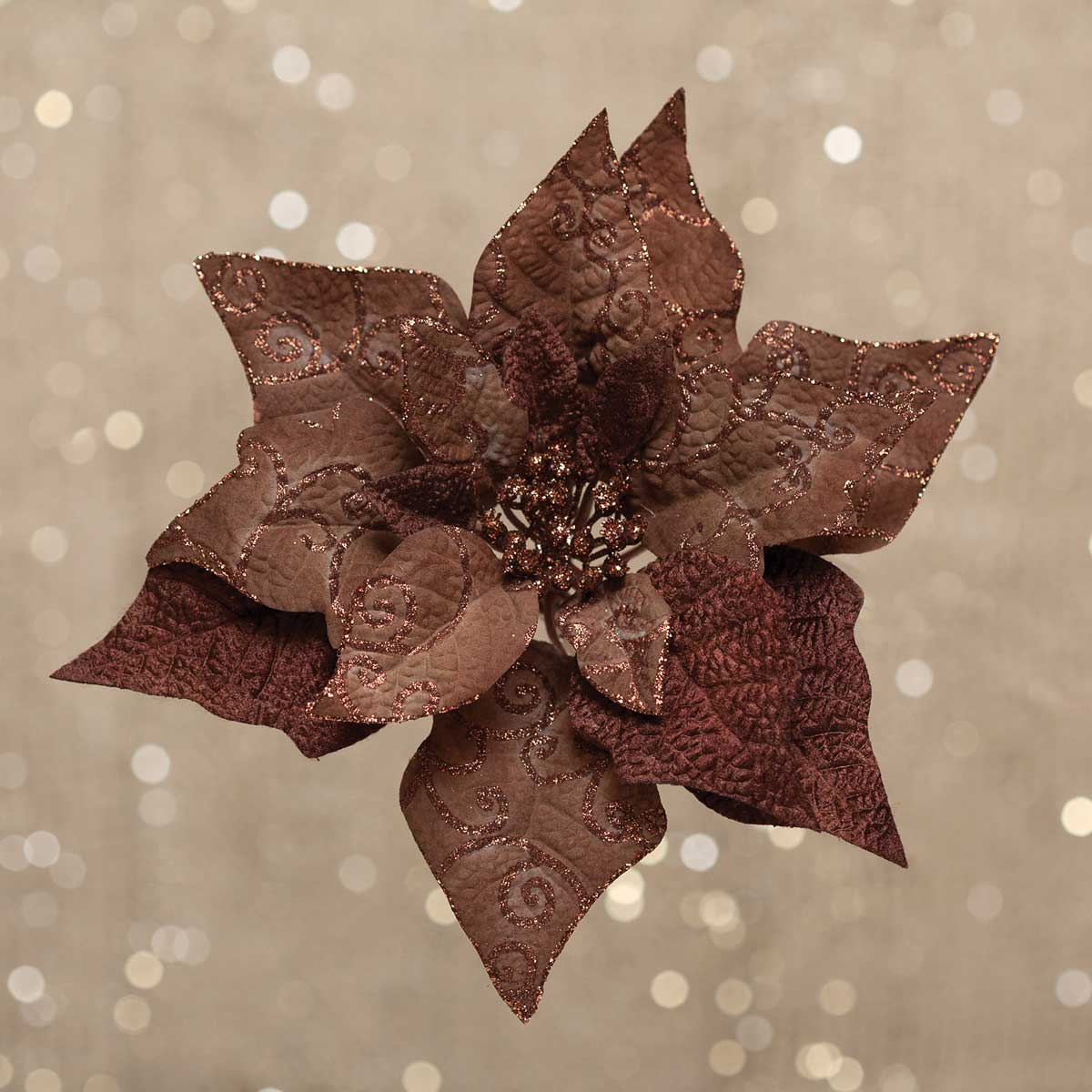 "R5709 CHOCOLATE POINSETTIA CLIP LARGE 10.5"" v22"