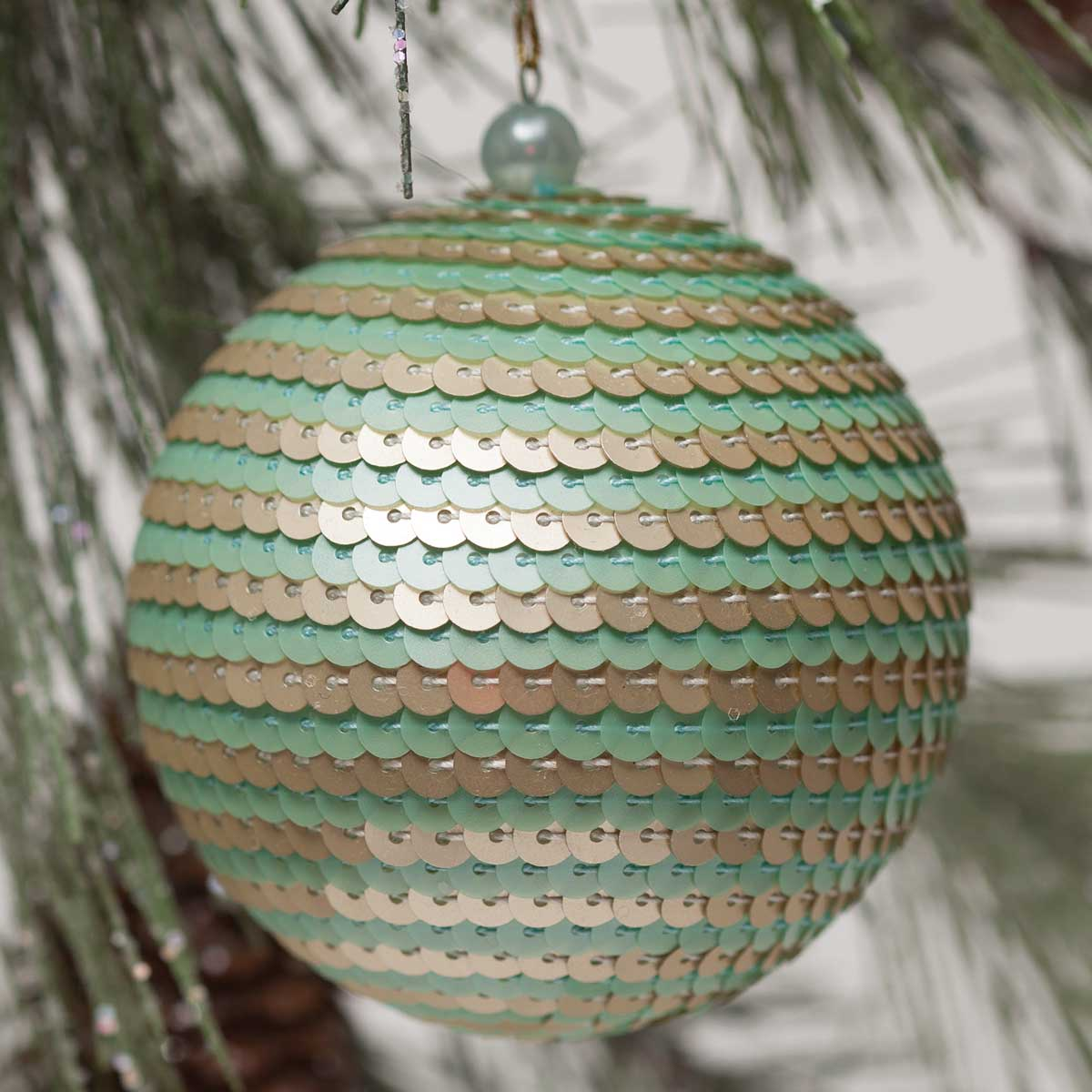 Sequin Stripe Ball Ornament