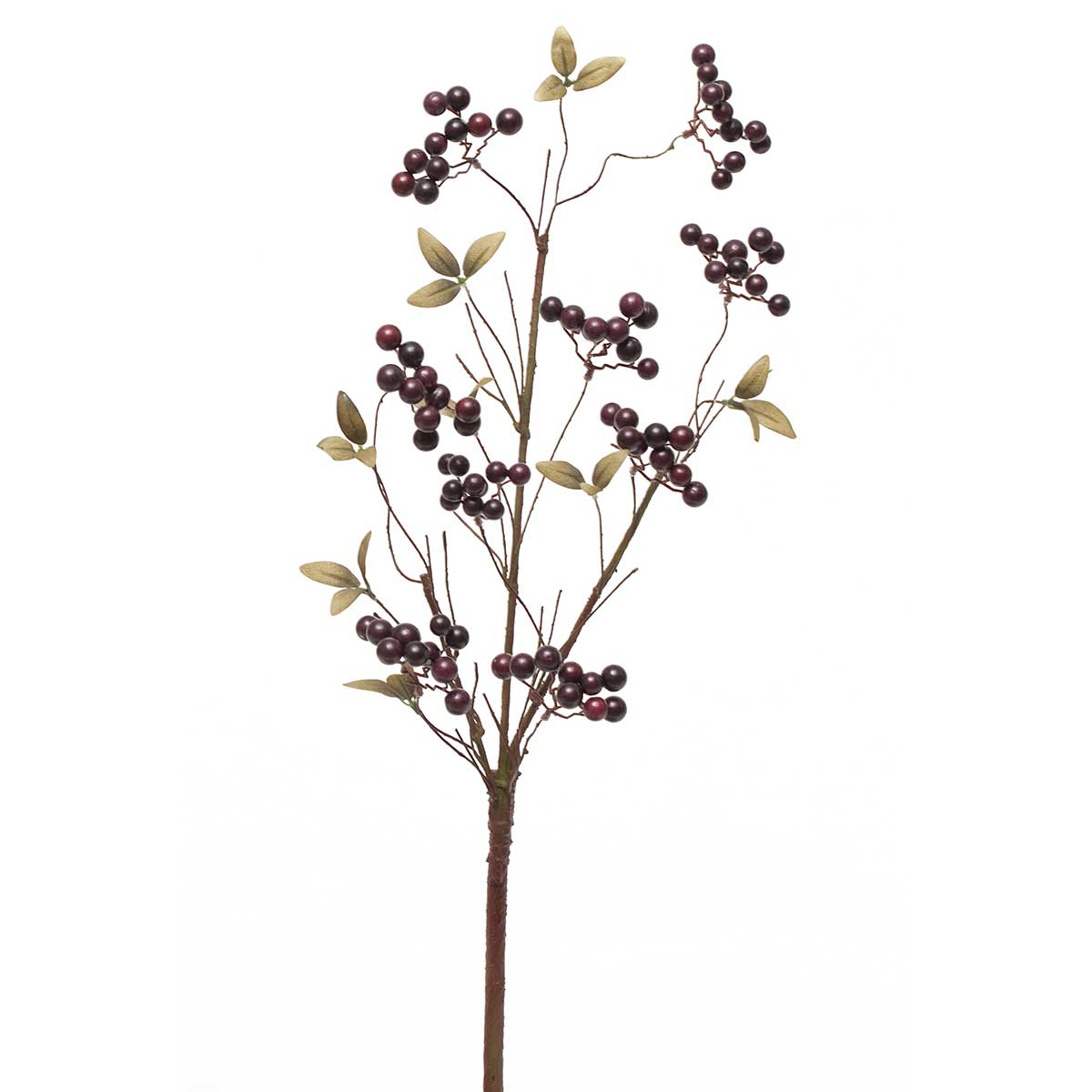 Faux Plump Cluster Berry Branch with Leaves