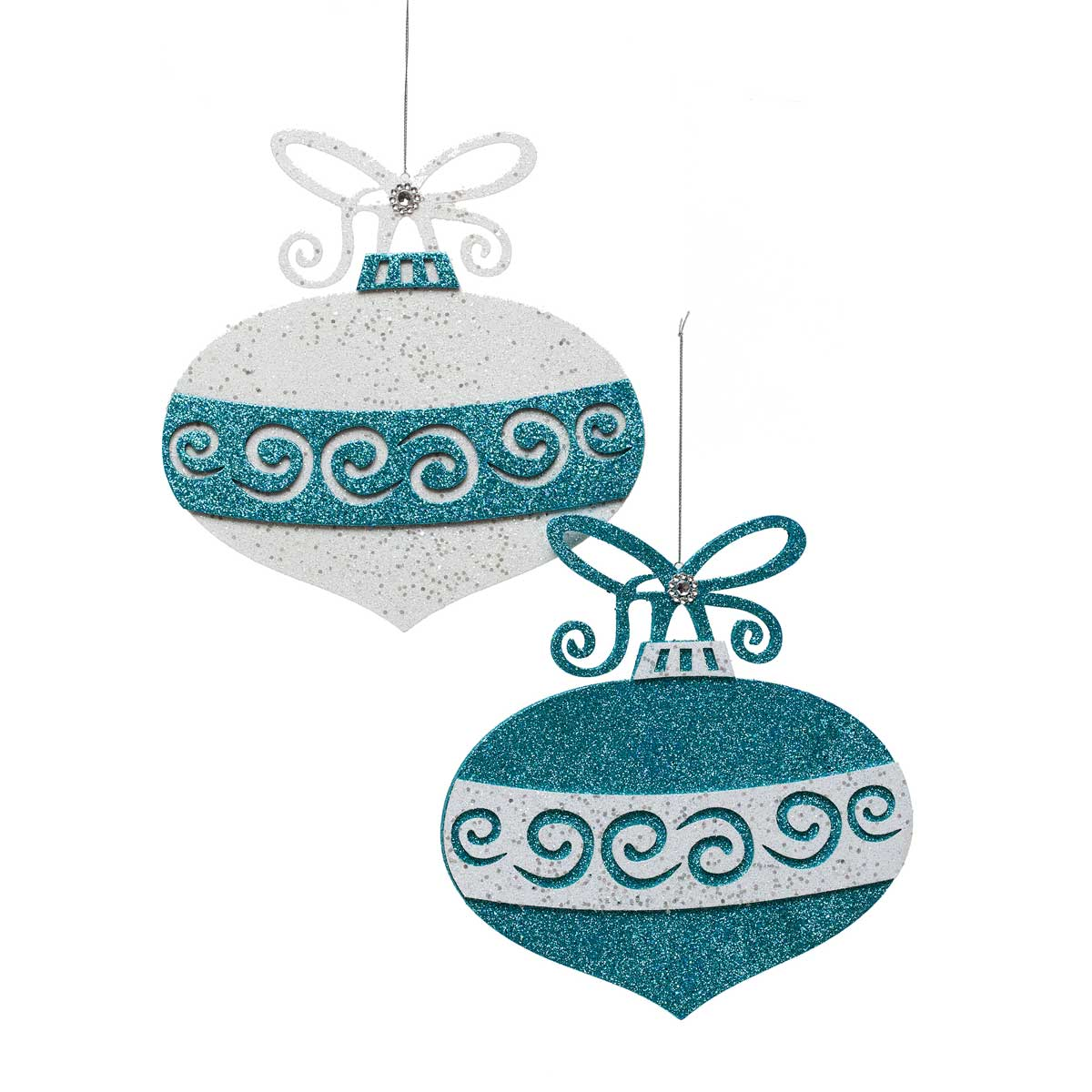 RETRO SPARKLE CUTOUT ORNAMENT SET OF 2 TEAL/WHITE