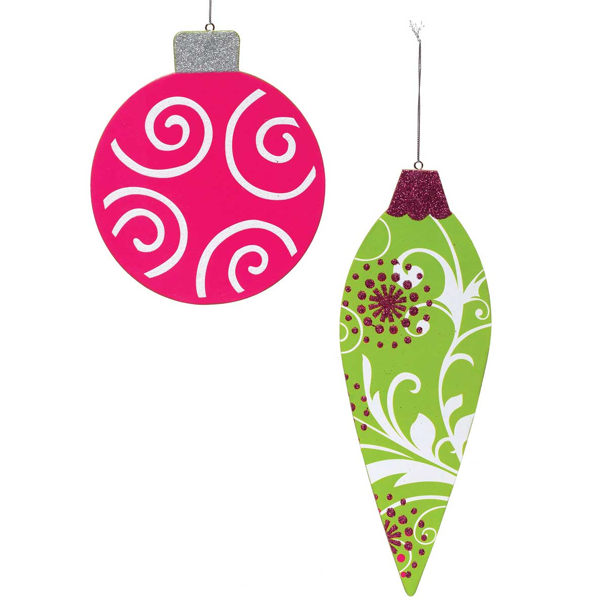 WHIMSY SPARKLE ORNAMENT SET OF 2 BALL/FINIAL MAGENTA/GREEN