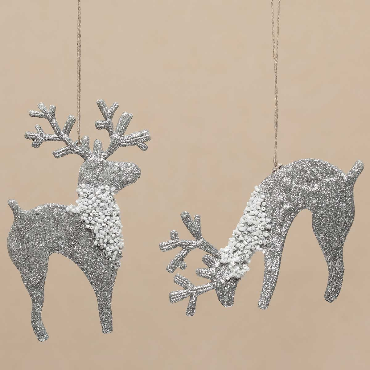 2 Piece Reindeer Ornament with Beads Set