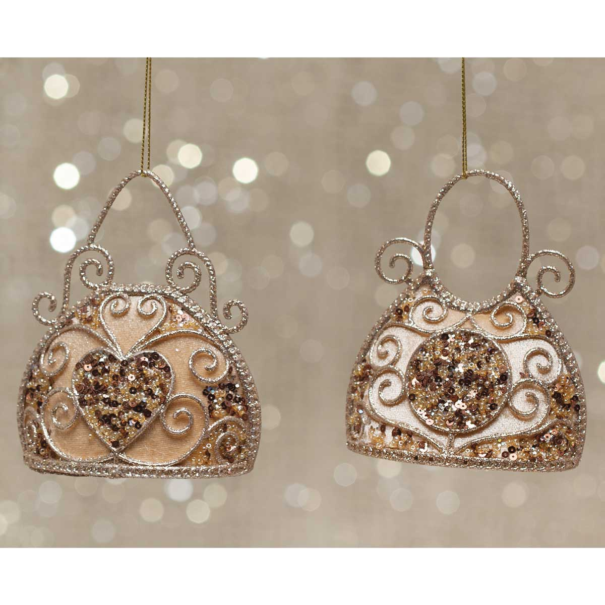 "NOEL PURSE ORNAMENT 5""X2""X4"" CHAMPAGNE v22"