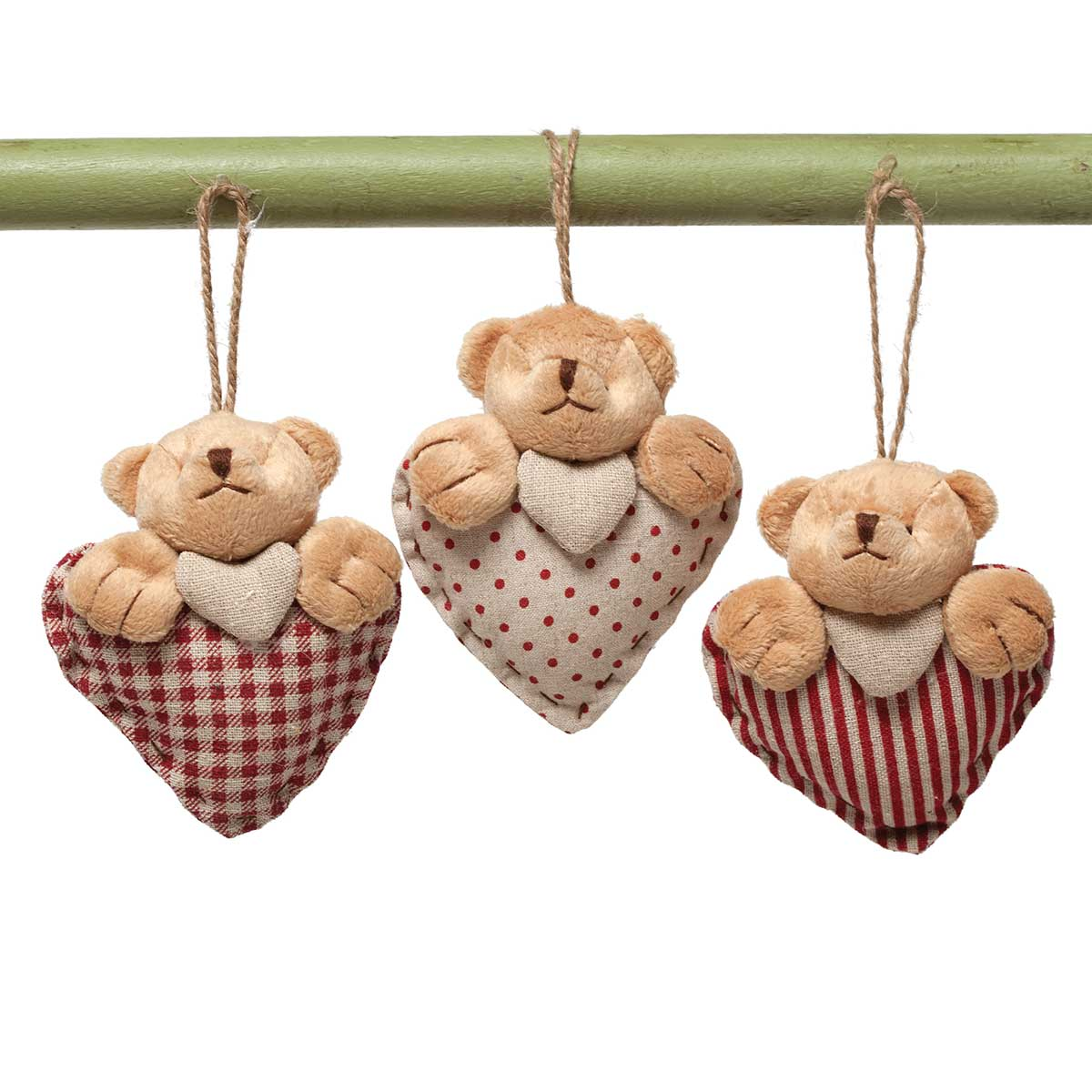 "COZY BEAR HEART ORNAMENT 4.5"" 3 ASSORTED v22"