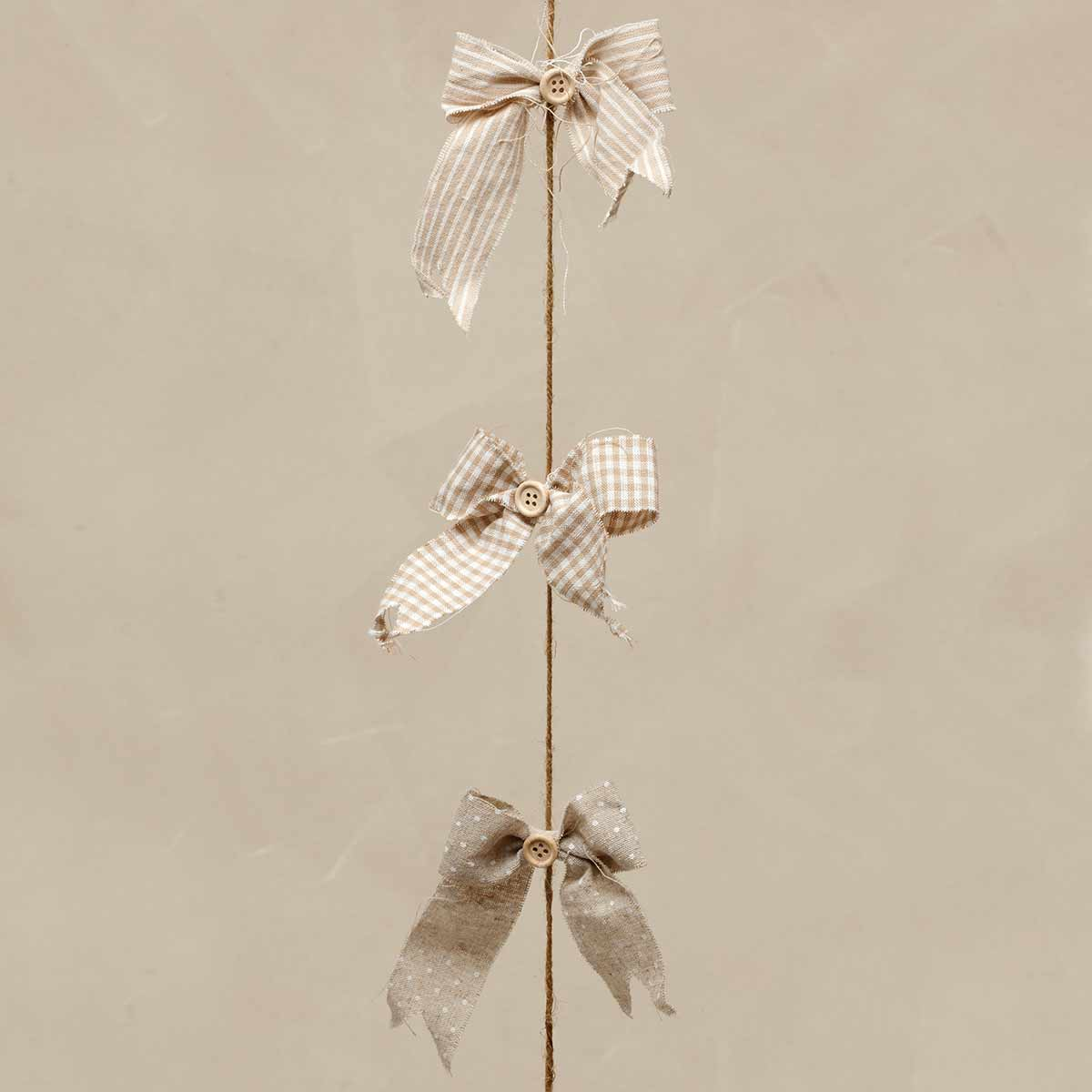 "CHANTILLY BOW GARLAND 4"" BEIGE/WHITE *70sp"