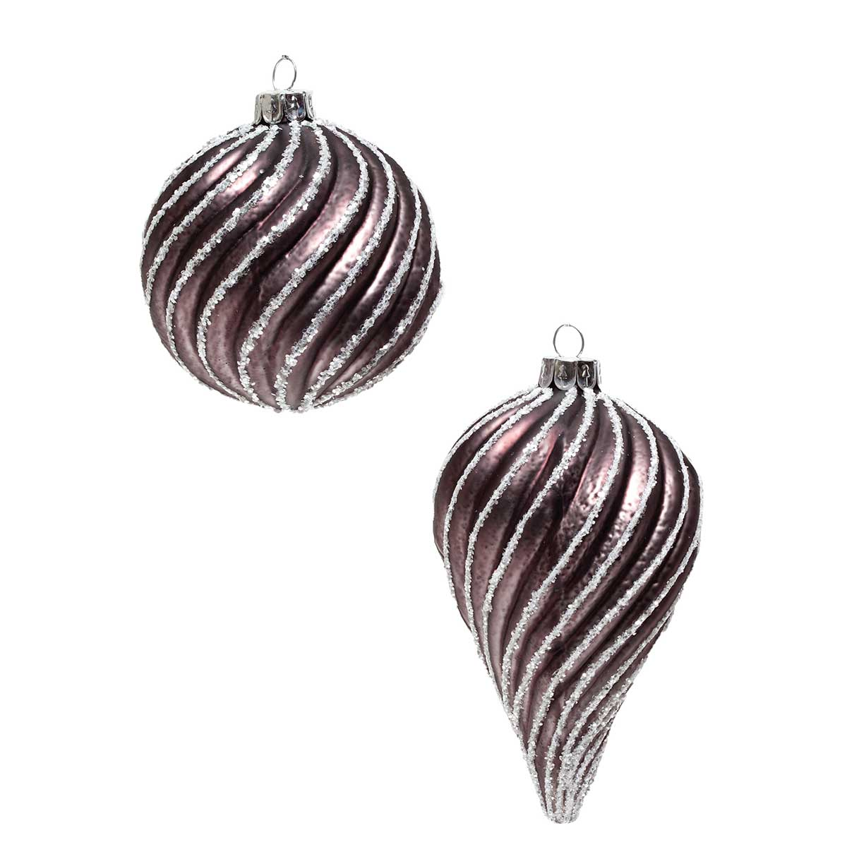 "TAUPE GLASS SWIRL ORNAMENT 4"" TEARDROP/BALL v22"