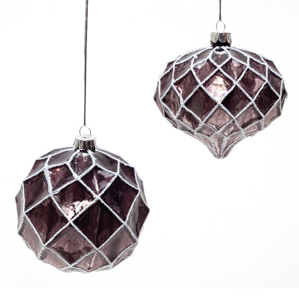 2 Piece Shiny Glass Ball/Kismet Ornament Set