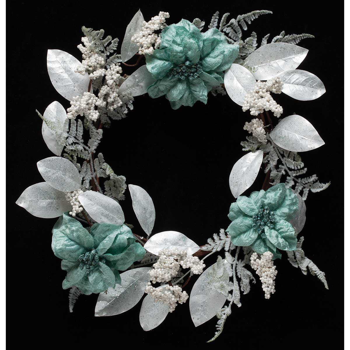 SILK AQUA/TEAL BLUE POINSETTIA, FROSTED BERRY, AND LEAF WREATH