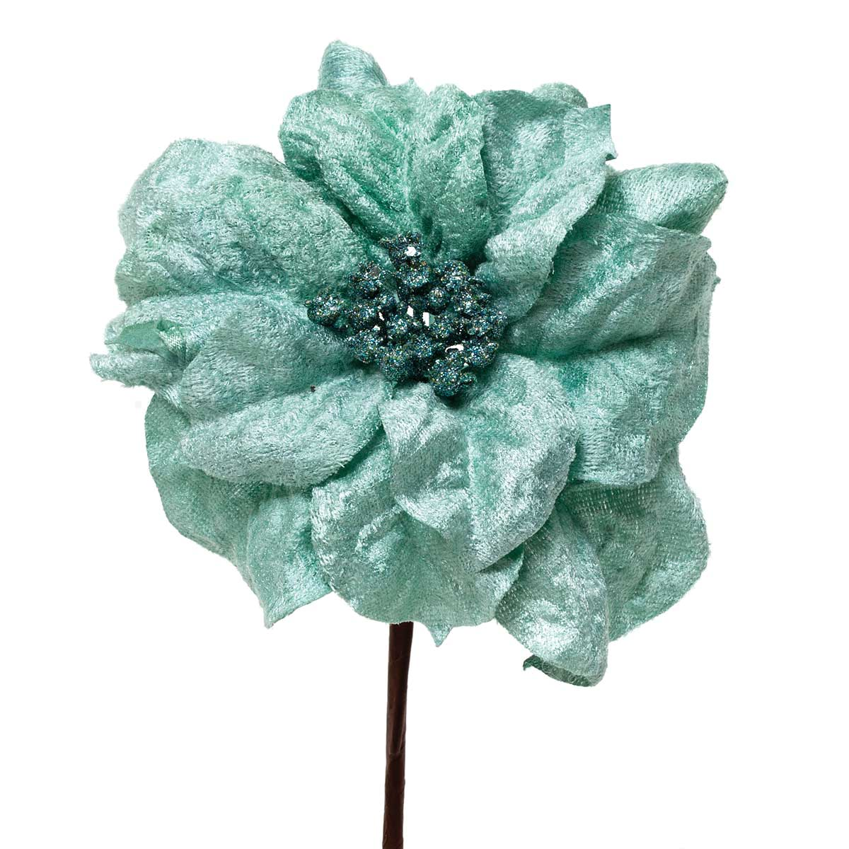 SILK ROSETTE POINSETTIA AQUA/TEAL BLUE