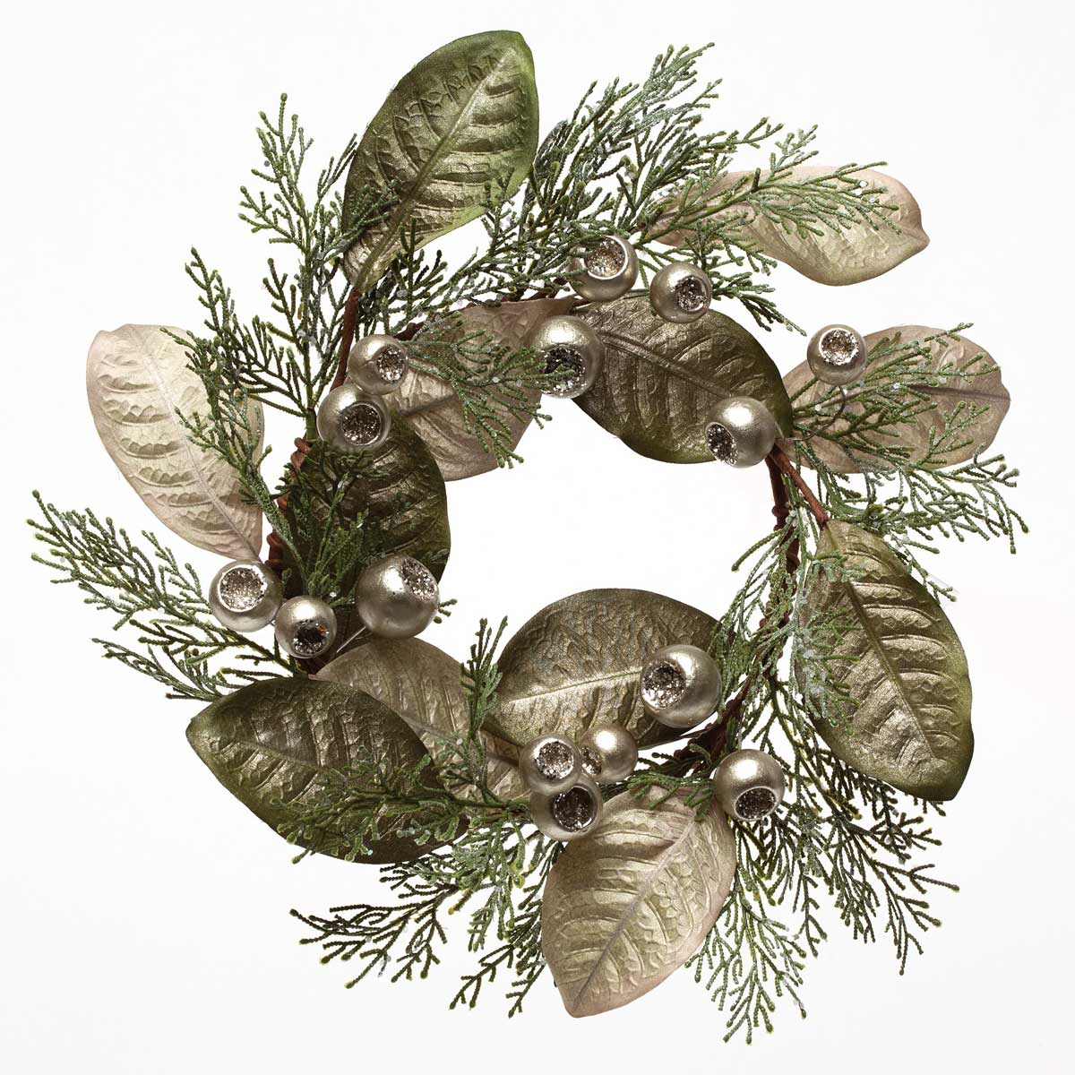 SILK METALLIC BERRY AND LEAF WREATH