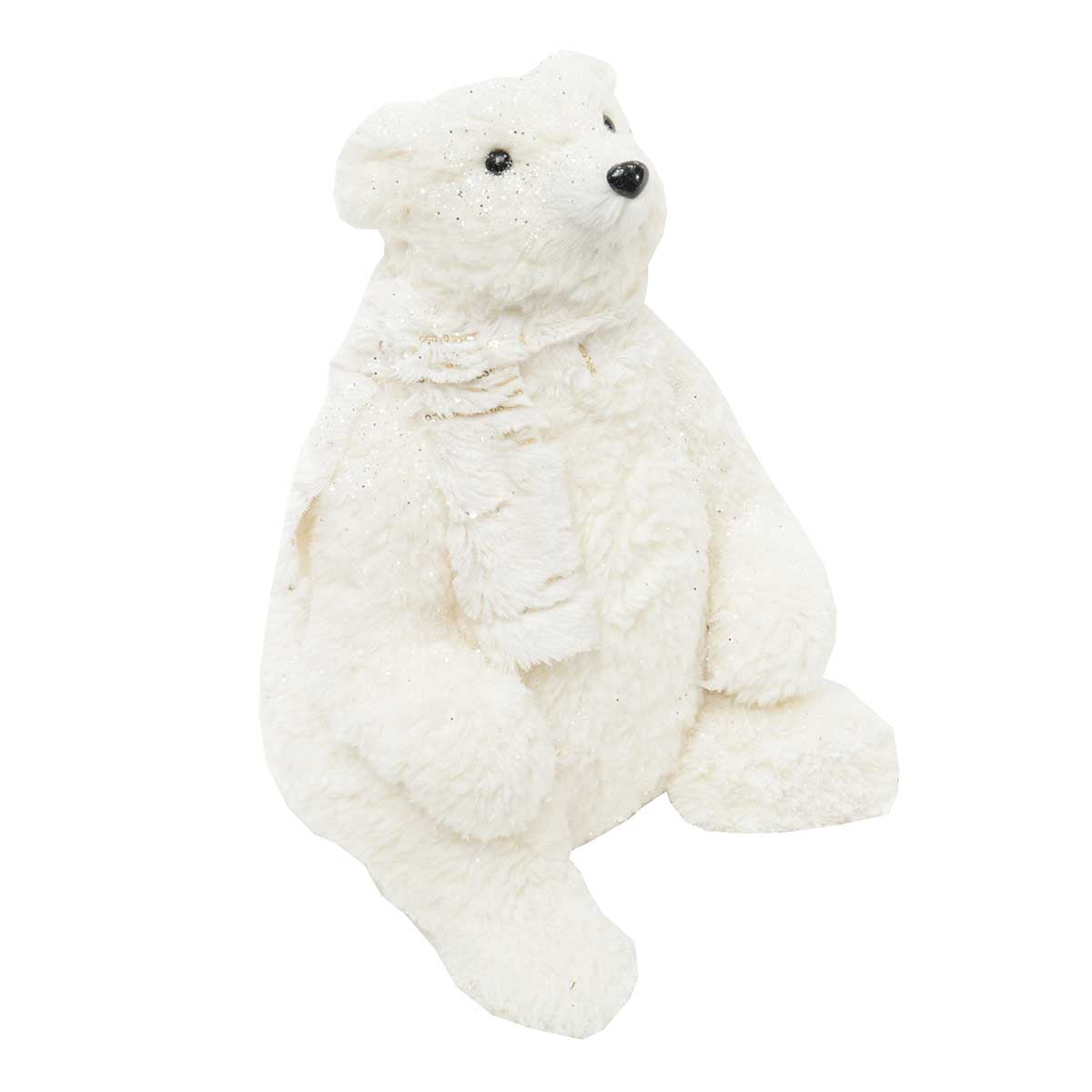 "POLAR BEAR SITTING 13.5"" WITH SCARF"