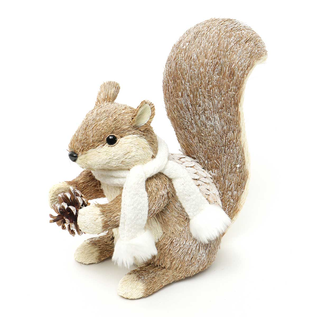 SISAL SQUIRREL STANDING WITH SCARF & PINECONE