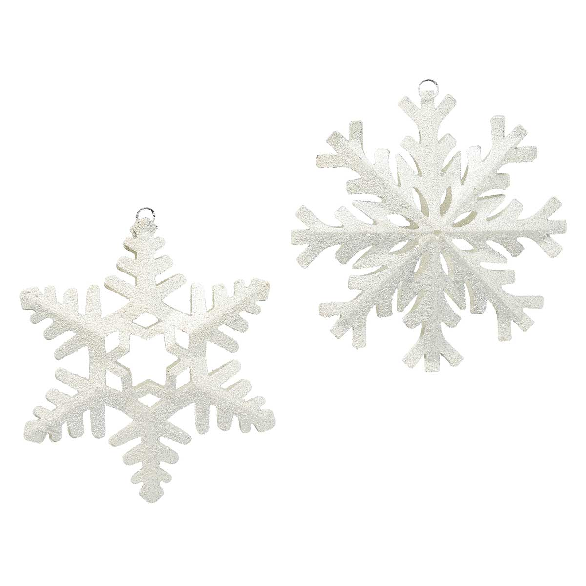 "METAL SNOWFLAKE ORNAMENT 2 ASSORTED 8"" WHITE"