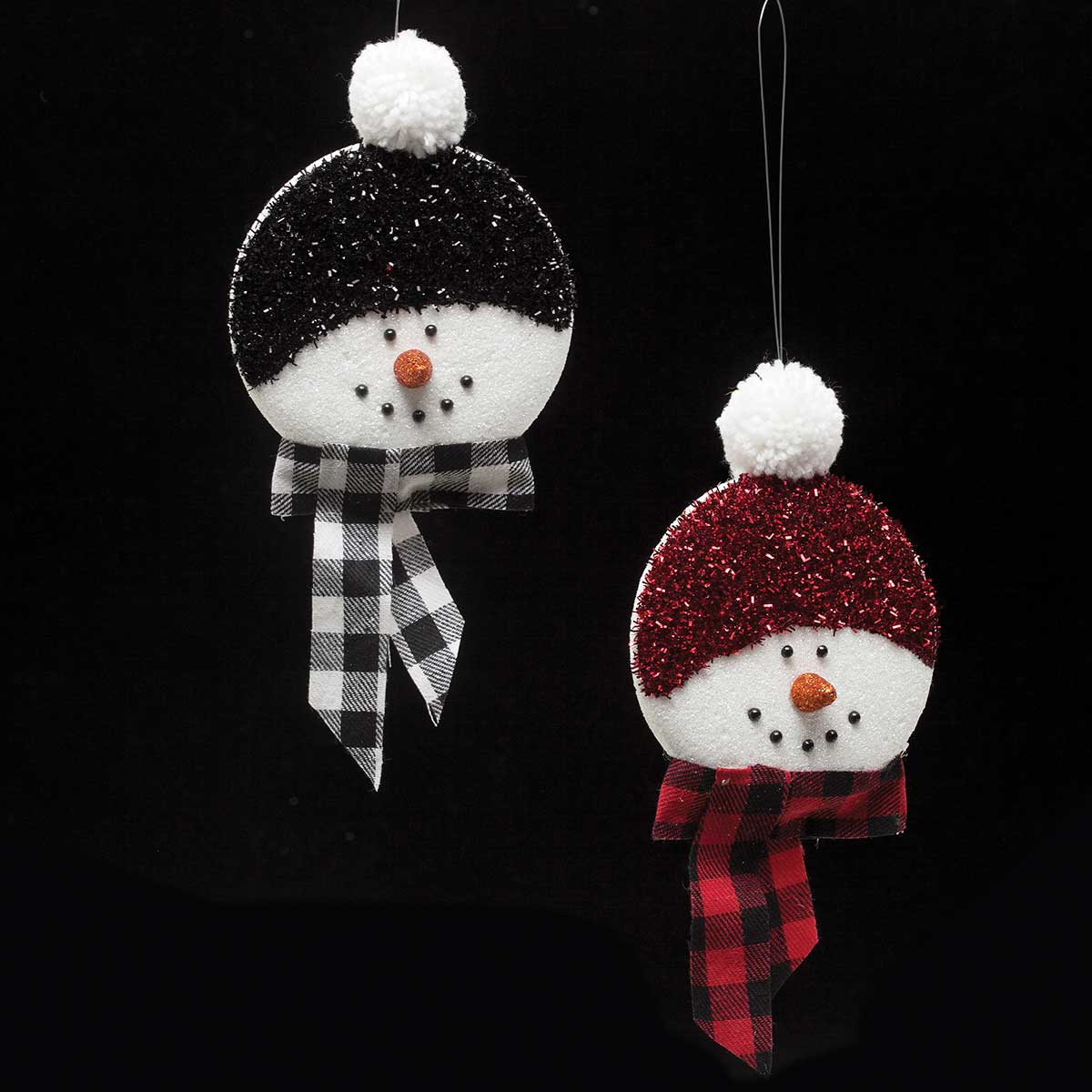 "SNOWMAN ORN 11"" RED/BLACK SET OF 2"