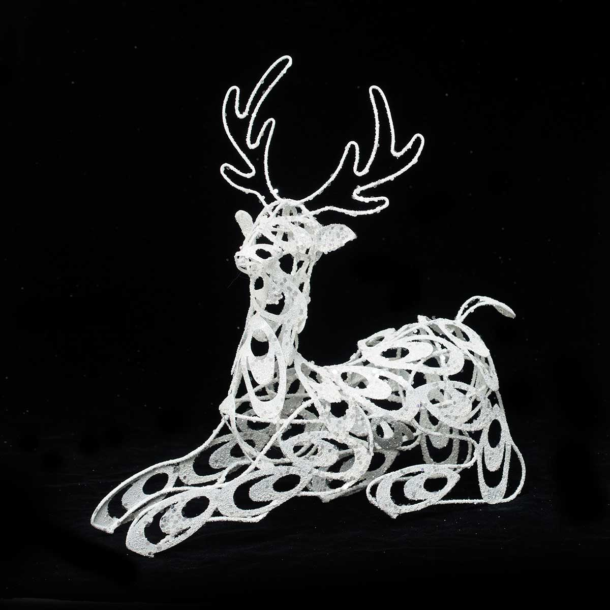 METAL SCROLL DEER RESTING